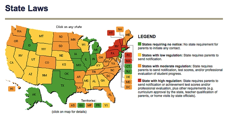 HSLDA State Laws Map